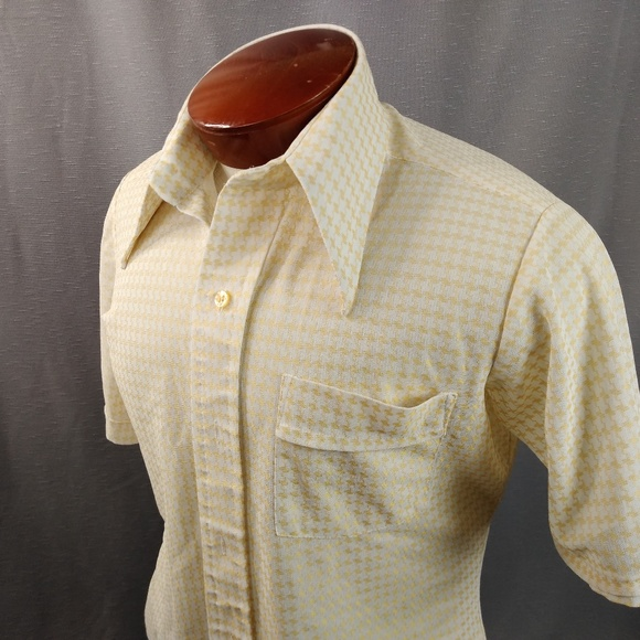 475a672497950 70s Vtg Shirt Yellow White Check Med Wide Collar